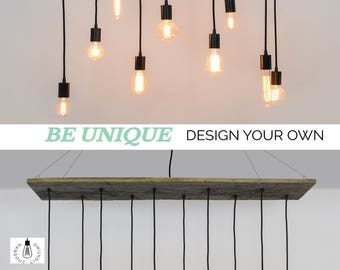 10 Pendant Reclaimed Wood Chandelier - Rustic Chandelier - Rustic Lighting - Shabby Chic Chandelier - Modern LED Dining chandelier