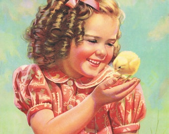 Small girl with baby chick shirley temple esque sweet shilds room print 8 x10 reproduction