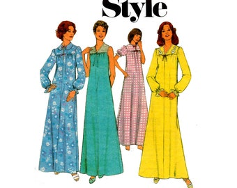 Style 1220 Womens Retro Nightdress Womens Sleepwear Nightgown 70s Vintage Sewing Pattern Size MEDIUM 12 - 14 Bust 34 - 36 inches