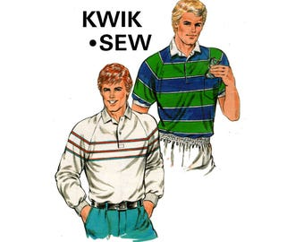Kwik Sew 1589 Mens Raglan Sleeved Stretch Shirts Vintage Sewing Pattern Sizes S - XL UNCUT Factory Folded