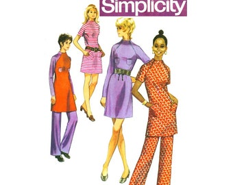 Simplicity 9216 Womens Mini Turtleneck Dress & Pants 70s Vintage Sewing Pattern Size 14 Bust 36 inches UNCUT Factory Folds NO ENVELOPE