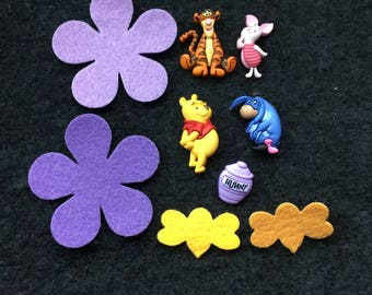 Winnie Pooh Buttons-100 Acre Wood Friends Embellishments-Iconic Bear-Iron On Appliques-Planner Accessories-DIY Maker Kits-Decorations