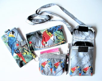 Tropical Parrots Quilted Eyeglass Case,Checkbook Cover, Mini Purse or Coin Purse,Your Choice, RTS,Bright Colorful Parrot Collector Gift