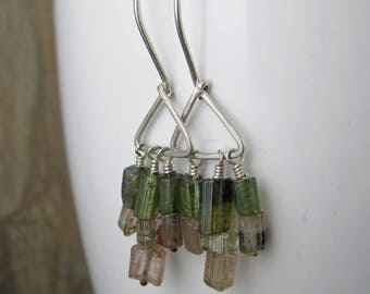 Rough Tourmaline Chandelier  Earrings - Sterling Silver Tourmaline Dangles