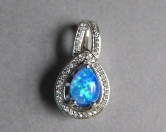 Blue Fire Opal Pendant .925 S. S. 6x8 stone Pave gemstones Vintage