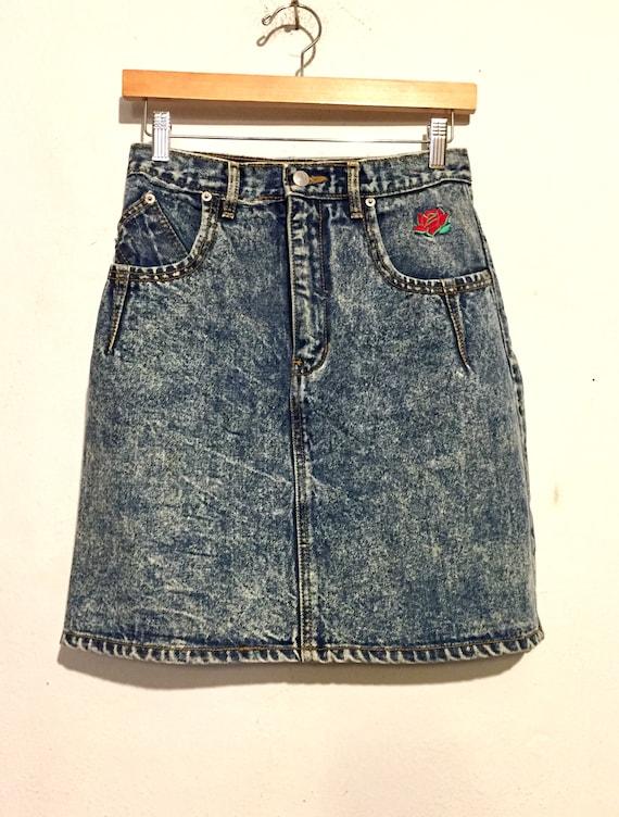 90s Stone Wash Denim Skirt