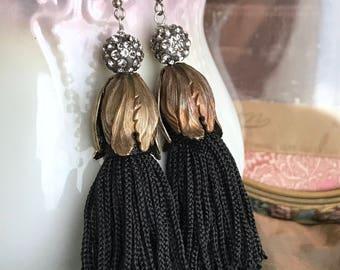 ebony tassels - statement earrings rhinestone black fringe bronze tulip bead caps fashion trend jewelry, the french circus