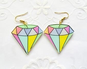 Kawaii Diamond Earrings / Kawaii / 90s Earrings / Cute / Fun / Resin / Earrings
