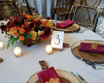 Hand Painted Written Calligraphy Table Numbers - Your choice of colors