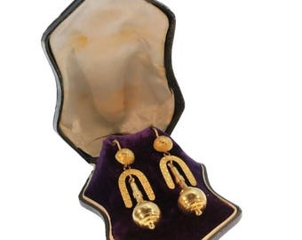 Victorian earrings antique 18k yellow gold dangle earrings original box
