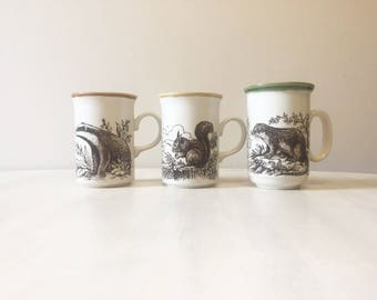 Vintage Stoneware mugs, pottery mugs, coffee mugs, vintage mugs, ceramic mugs, woodland animals, badger, squirrel, otter, made in england,