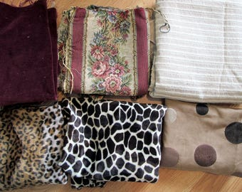 Upholstery Remnants Scraps Tapestry Velvet Animal Print Faux Fur Embroidered Ultrasuede Bundle for purse handbag bag tote pillows