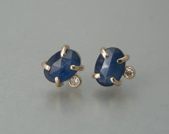 Blue Sapphire, Diamond and Gold Studs / 5x7mm Rose Cut Oval Blue Sapphire and 14k Yellow Gold Prong Stud Earrings / Ready to Ship