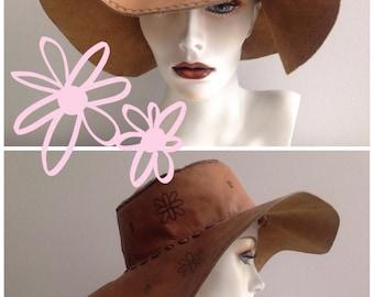 Flower Power Boho Vintage Leather Hat / Hippie Festival Shade Hat / Handmade Floral Print Hat