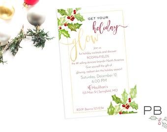Get Your Holiday GLOW Invite | Printable Invite Digital File | 4x6 5x7 | Invitation, Custom, Skincare, Skinvitation, Printed