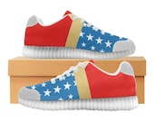 Wonder Woman LED Light Up Shoes | Womens & Kids Sizes | High Stretch Upper | EVA + Mesh Fabric Insole | 7 Colors | Bold Sport Fashion