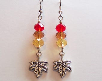 Fall Earrings, Autumn Earrings, Red Earrings, Brown Earrings, Harvest Golden Earrings, Silver Leaf Charm Earrings, Glass Crystal Earrings