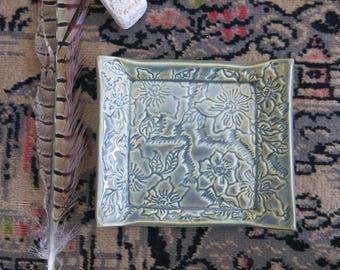 Jade Green Ceramic Soap Dish, Spoon Rest, Trinket Dish Home Decor Textured Waves Gift Idea, Handmade Artisan Pottery by Licia Lucas Pfadt
