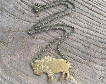 brass necklace / bison necklace / buffalo / BRASS BISON