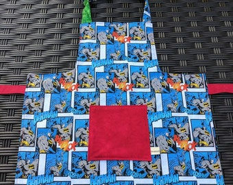 Boys Apron Batman Apron Super Hero Reversible Boys Apron Kids Apron Boys Art Smock Super Hero Apron Marvel Comic Apron Toddler Apron 4t/6