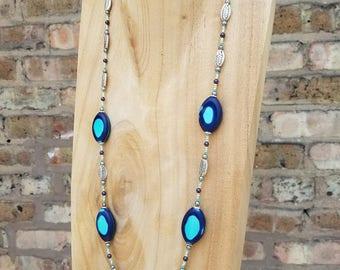Two-Toned Blue Glass Neckalace