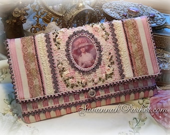 Antique Style Rococo Marie Antoinette Pink Stripe Silk Ribbon Roses Purse  - Antique Metallic Lace Trim - Silk Ribbonwork Hand Embroidery