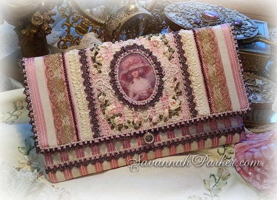Antique Style Rococo Marie Antoinette Pink Satin-Stripe Silk Ribbon Roses Purse  - Antique Lace Trim - Silk Ribbonwork Hand Embroidery