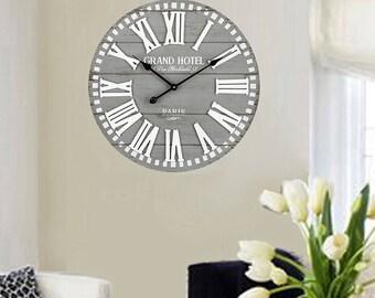 "23"" Wood Wall Clock Grand Hotel"