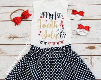 SALE! Fourth of July Outfit; July 4th Babygirl Outfit; My 1st Fourth of July bodysuit with Skirt, Headband Sandals; Gerber ® Onesies ® brand