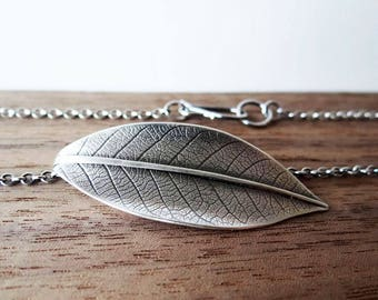 Sterling Silver Leaf Pendant Necklace, Leaf Pendant, Leaf Necklace, botanical jewelry