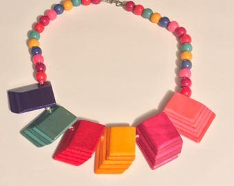 Multicolored Wooden Beaded Necklace // Vintage Colorful Wooden Necklace
