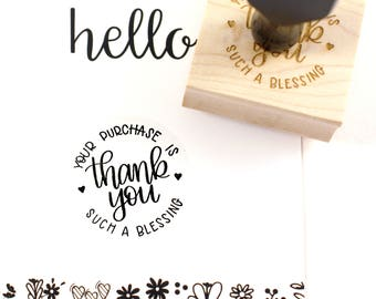 Shop Exclusive - Thank you, your purchase is such a blessing rubber stamp- modern calligraphy hand lettered stamp - small business stamp
