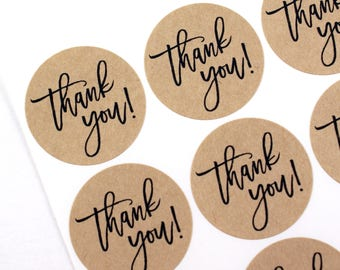 THANK YOU! stickers in casual modern script font