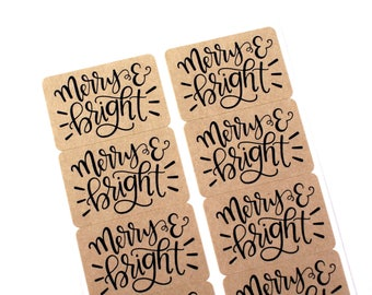 Shop Exclusive - Set of 50 hand lettered MERRY & BRIGHT stickers - holiday stickers for gift tags, Christmas cards, presents