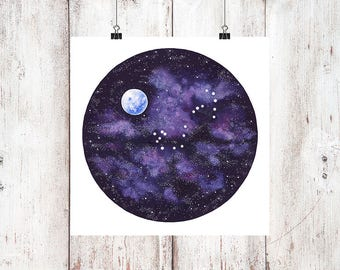 Full Moon Scorpio Constellation Digital Download Print, Instant Download, Galaxy Painting, Stars Painting, Zodiac Print, Horoscope Print