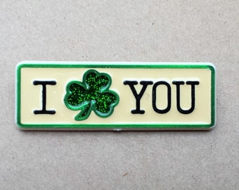 I Love You Irish Pin, Green Glitter Clover, St. Patrick's Day Pin, Signed 1985 Hallmark Cards, Inc.