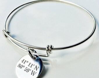 Latitude & Longitude Bangle Bracelet . Tatum Bradley Expandable Bracelet . Sterling Silver Bangle