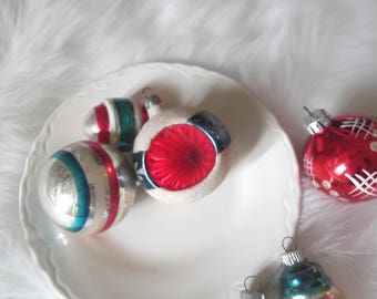 Vintage Christmas Ornaments, Mercury Glass, Red and Blue Glass Ornaments, Indent, Mix and Match Ornament Collection