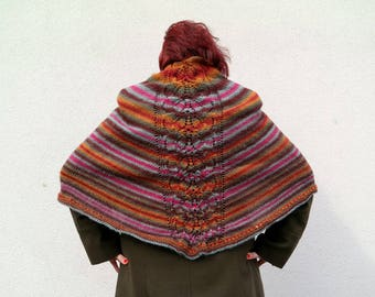 Stripe Triangle Shawl, Colorful Pointed Wrap, Hand Knitted Stole with Openwork Pattern, Luxury Winter Fashion, Women's Fashion Gift Autumn