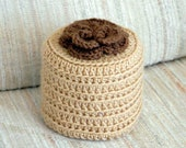 Cottage Rose Crochet Toilet Paper Cover, Brown Flower Cozy, Farmhouse Decor, Storage, Bathroom Organization, Powder Room Home Decor, Rustic
