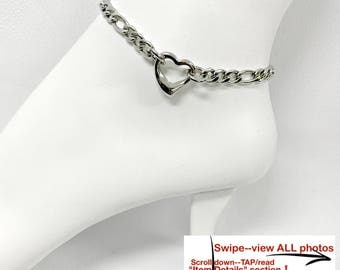 BDSM Ankle Slave Bracelet *24/7* Wear 316L Stainless Steel Figaro Chain and Solid 316L Heart Ring