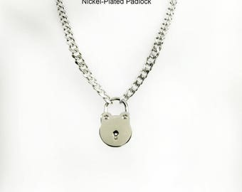 BDSM Submissive Day Collar 316L Stainless Steel Chain and ROUND Padlock Slave Collar Choker or Necklace