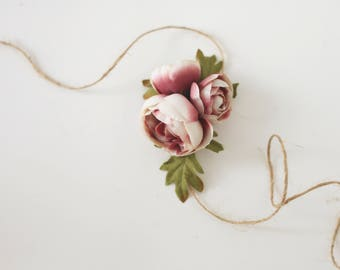 Lorraine mauve blush dusty vintage pink adjustable rifle paper co inspired tieback ready to ship