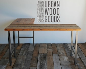 Standing Desk made in L shape with reclaimed wood and steel.  Custom designs welcome.  Choose height, size, finish, base, wood thickness.