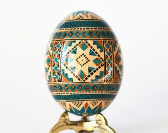 Pysanka on brown chicken egg Ukrainian Easter egg hand painted fine batik work beautiful gift for Mother's birthday Christmas gift ideas