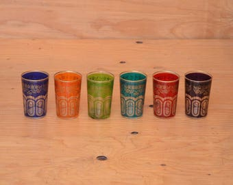 Set Of Six Small Multi Colored Moroccan Glasses, With Golden Floral Detail