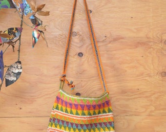 Bright Bold Vintage Woven 80's Rainbow Colored Woven Guatemalan Striped Bucket Festival Bag Accessories