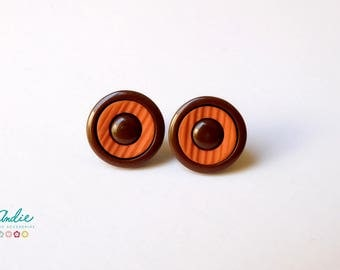 Brown and Orange Button Stud Earrings, Buttons earrings, Womens Retro Studs Earings, Girls Earrings Plastic Buttons