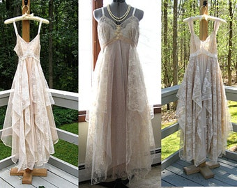 Empire waist tattered gypsy boho wedding dress, made to order in shades of beige/nude/blush, bust size 32-44, by Lily Whitepad