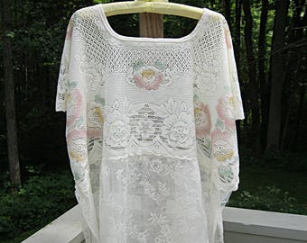 4X plus size one size fits most oversize upcycled cream and pink lace top loose fit clothing artsy eco boho top by Lily Whitepad